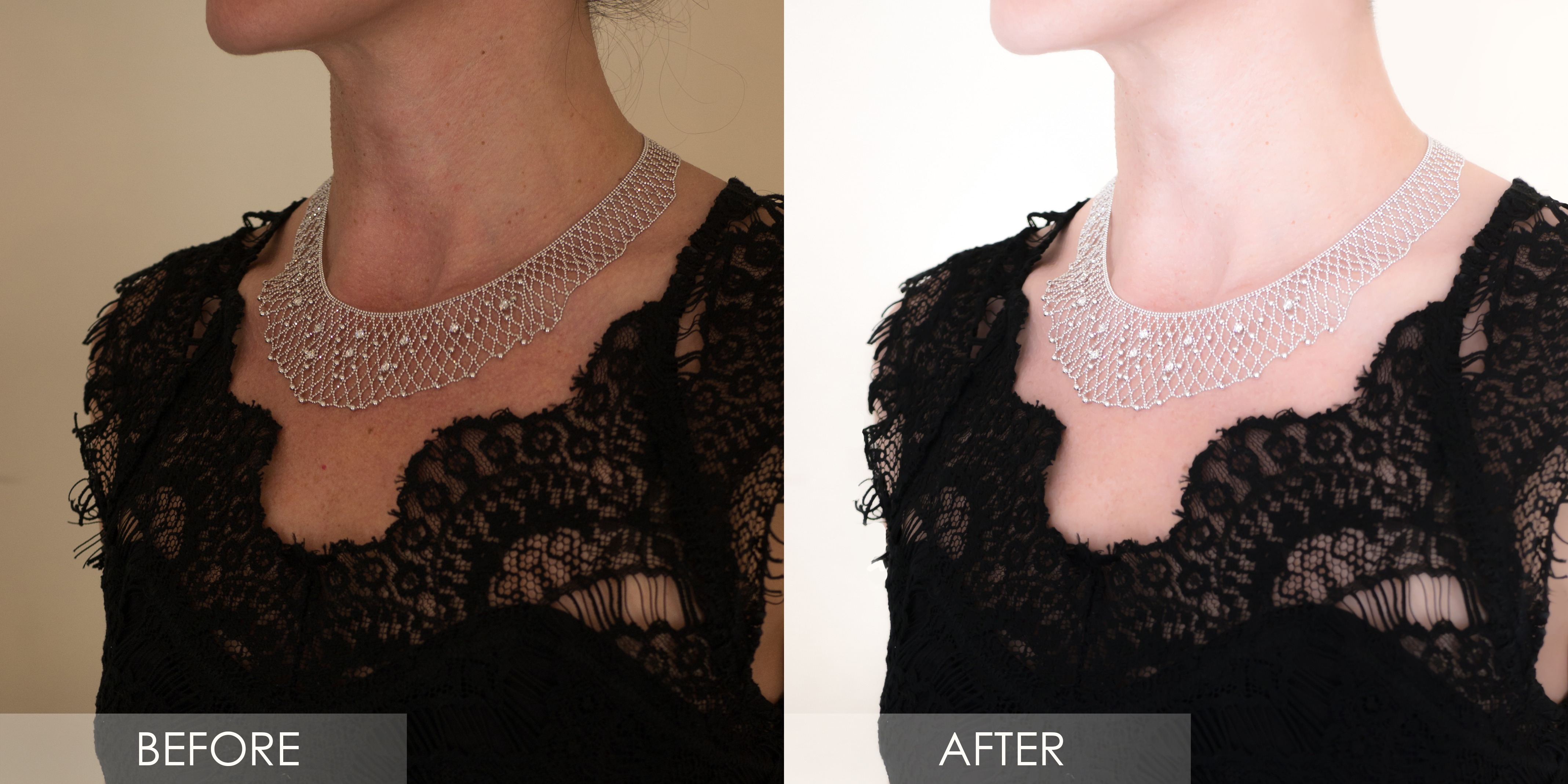 retouched jewelry photo on model